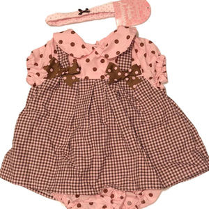 NEW! Pink and Brown Polka Dot Bubble Dress